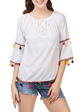 white poly crepe regular top -  online shopping for Tops