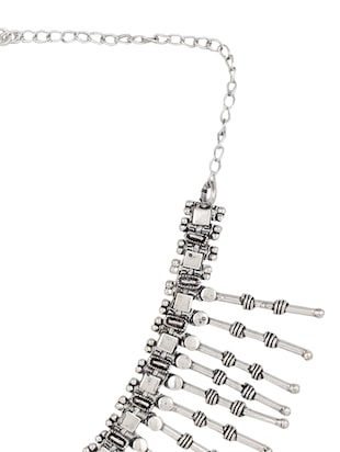 silver metal short necklace - 13422612 - Standard Image - 3