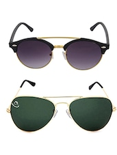 Aventus Sunglasses Combo- Classic Golden Aviator Sunglasses & Round Clubmaster Sunglasses - By
