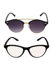 Aventus Sunglasses Combo- Black Clear Cateyes Sunglasses & Round Clubmaster Sunglasses - By
