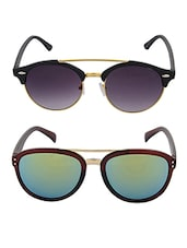 Aventus Sunglasses Combo- Reflective Mirrored Green Aviator Wayfarer Sunglasses & Round Clubmaster Sunglasses - By