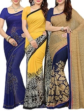 multi colored combos saree(set of 3) -  online shopping for Sarees
