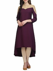 Purple Poly Crepe Highlow Kurta - By