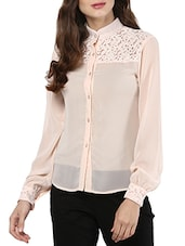 pink georgette regular shirt -  online shopping for Shirts