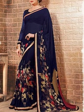 midnight blue printed saree with blouse -  online shopping for Sarees