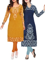 Multi Coloured Cotton Printed Unstitched Kurtas (set Of 2) - By