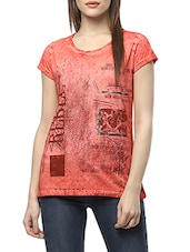 red printed cotton tee -  online shopping for Tees
