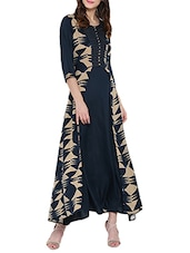 Black Rayon Printed Long Kurta - By