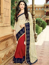 Cream & Red Georgette Embroidered half & half Saree -  online shopping for Sarees