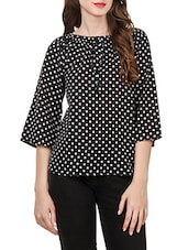 black polka dots printed poly crepe regular top -  online shopping for Tops