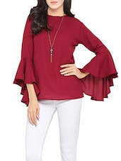 maroon crepe top -  online shopping for Tops