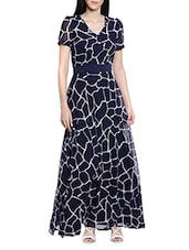 navy blue poly georgette maxi dress -  online shopping for Dresses