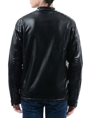 the latest 55eff 14c05 Buy Black Leatherette Biker Jacket for Men from Pepe Jeans ...