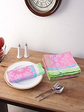 Stitchnest Weaved Pink Cotton 16 X 16 Inch Table Napkin - Set Of 6 - By
