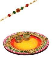 Lovely Shades Round Rakhi Pooja Thali With 1 Charming Rakhi - By