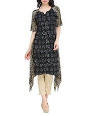 Black Rayon Printed Asymmetric Kurta - By