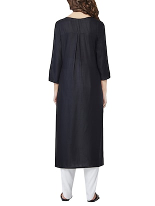 0a0e84b275021 Buy Global Desi Black Viscose Straight Kurta for Women from Global Desi for  ₹1599 at 0% off | 2019 Limeroad.com