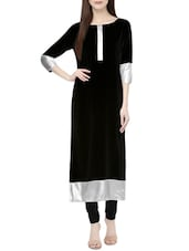 black crepe solid long kurta -  online shopping for kurtas
