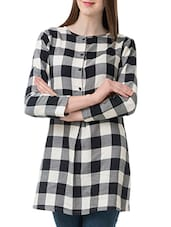 black checkered cotton regular tunic -  online shopping for Tunics
