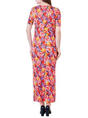 red printed viscose maternity wear - 13853780 - Standard Image - 3