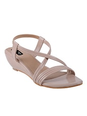 beige fabric back strap wedges -  online shopping for wedges