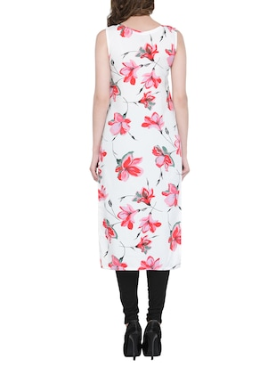 white & red floral straight kurta - 13876815 - Standard Image - 3