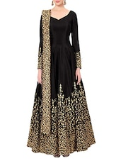 black banglori silk flared semi-stitched suit -  online shopping for Semi-Stitched Suits
