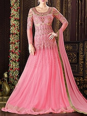 pink net embroidered anarkali semi-stitched suit -  online shopping for Semi-Stitched Suits