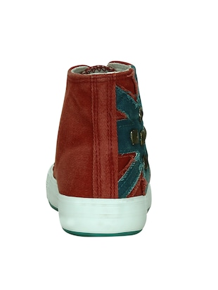 red canvas laceup sneakers - 13938010 - Standard Image - 3