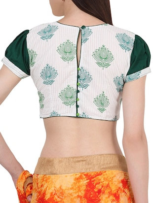 White & green cotton block printed stitched blouse - 13993950 - Standard Image - 3