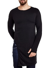 black cotton asymmetric t-shirt -  online shopping for T-Shirts