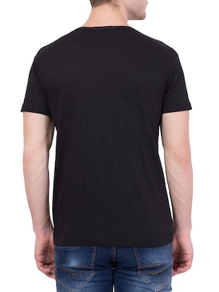 black cotton chest print t-shirt - 13996123 - Standard Image - 3