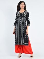 Black Rayon Printed Straight Kurta - By