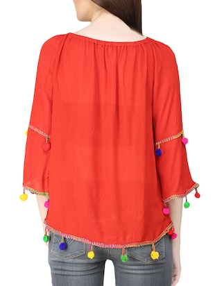 red rayon top - 14033636 - Standard Image - 3