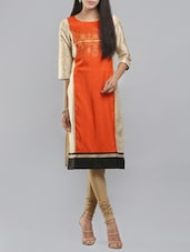 W Orange Cotton Straight Kurta - By