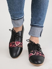 Black And Mauve Kalamkari Oxford Shoes -  online shopping for formal shoes