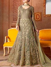 green anarkali semi-stitched suit -  online shopping for Semi-Stitched Suits