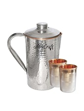AsiaCraft SS Copper Hammered Jug & 2 SS Luxury Glass Set -  online shopping for Bottles & Jugs