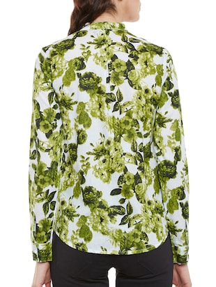 green floral printed cotton regular shirt - 14073777 - Standard Image - 3