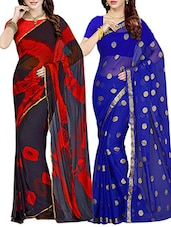 set of 2 multicolor chiffon saree -  online shopping for Sarees