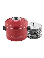 Mahavir Induction Base Idly Cooker 24 Idlys Red Color -  online shopping for Steamers