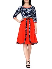 multi colored georgette fit & flare dress -  online shopping for Dresses