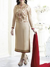 beige churidaar suits semi-stitched suit -  online shopping for Semi-Stitched Suits