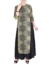 Multicolor Crepe Layered Flared Kurta - By