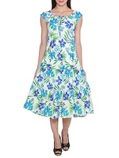blue poly crepe fit & flare dress -  online shopping for Dresses