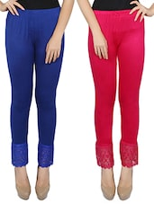set of 2 multi colored cotton legging -  online shopping for Leggings