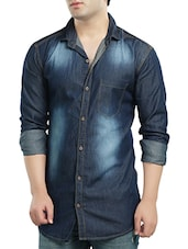 dark blue denim casual shirt -  online shopping for casual shirts