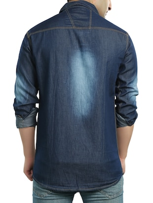 dark blue denim casual shirt - 14121593 - Standard Image - 3
