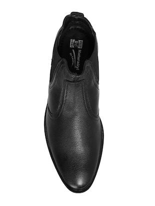 black Leather slip on boots - 14131862 - Standard Image - 3