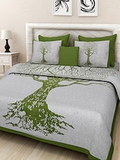 Screen Print White and Green King Bed sheet with Two Pillow Covers -  online shopping for bed sheet sets